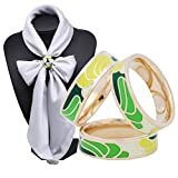 SHAN LI HUA Silk Scarves Ring Pin Women's Scarf Accessories 3 Rings Yellow Green