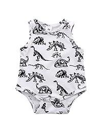 LUNIWEI Infant Kids Baby Boy Girl Dinosaur Print Jumpsuit Romper Outfits