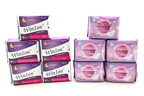 5 Pack Winalite Winion Anion Night Napkin With 5 Pack Prettie Energy Sanitary Night Use Pad With Wing by Winalite (Image #3)
