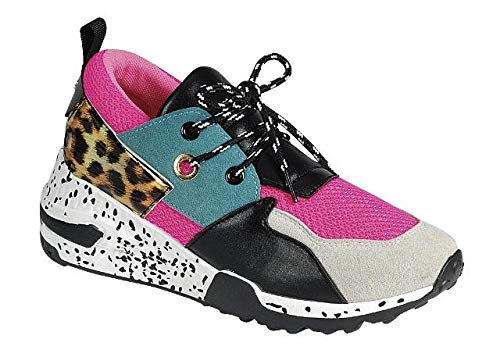 - LuxeFootwear Too Fabulous for The Gym Women's Fashion Forever Hybrid Sneakers Color Lace Up Fashion Cliff Kicks Standout (Pink Blue, 6)