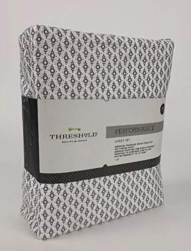 (threshold Performance Sheet Set Patterns 400 Thread Count, Gray Ring, Twin Extra Long - 100% Cotton)