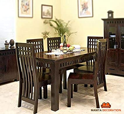 Pleasing Mamta Decoration Sheesham Wood Dining Table With 6 Chairs Home And Living Room Dark Walnut Finish Beutiful Home Inspiration Xortanetmahrainfo