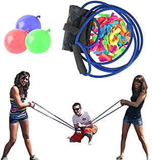 PAKASEPT Water Balloon Launcher Slingshot, 500 Yards Long Range, 2-3 Person Collaboration Team Games, for Party Game Beach Toys, Suitable for All Ages, (100 Balloons Included)