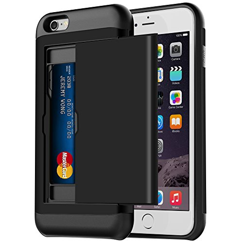 iPhone 6s Plus Case, iPhone 6 Plus Case, Hython Hybrid iPhone 6s Plus Wallet Case Anti-Scratch Protective Shell Shockproof Soft Rubber Bumper Cover Sliding Card Holder for iPhone 6/6s Plus, Black
