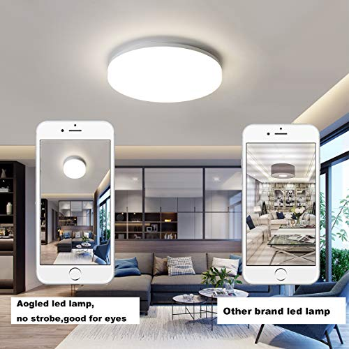 Aogled LED Plafonnier 18W 1800LM Blanc Naturel 4000K Rond 22 CM, Intérieur Plafonnier Lampe Étanche IP54,180 Angle Lampe de Plafond Pour Salon,Salle de Bain,Chambre,Couloir,Cuisine,Couloir,Entrée