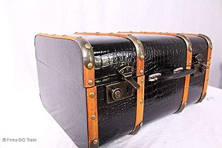 Oldtimerkoffer Koffer Kroko Muster Holzlatten 4 Gr VINTAGE // Black Suitcase