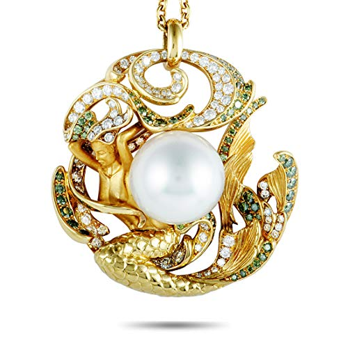 (Magerit Atlantis Sirena Perla 18K Yellow Gold White and Green Diamonds and Pearl Pendant Necklace)
