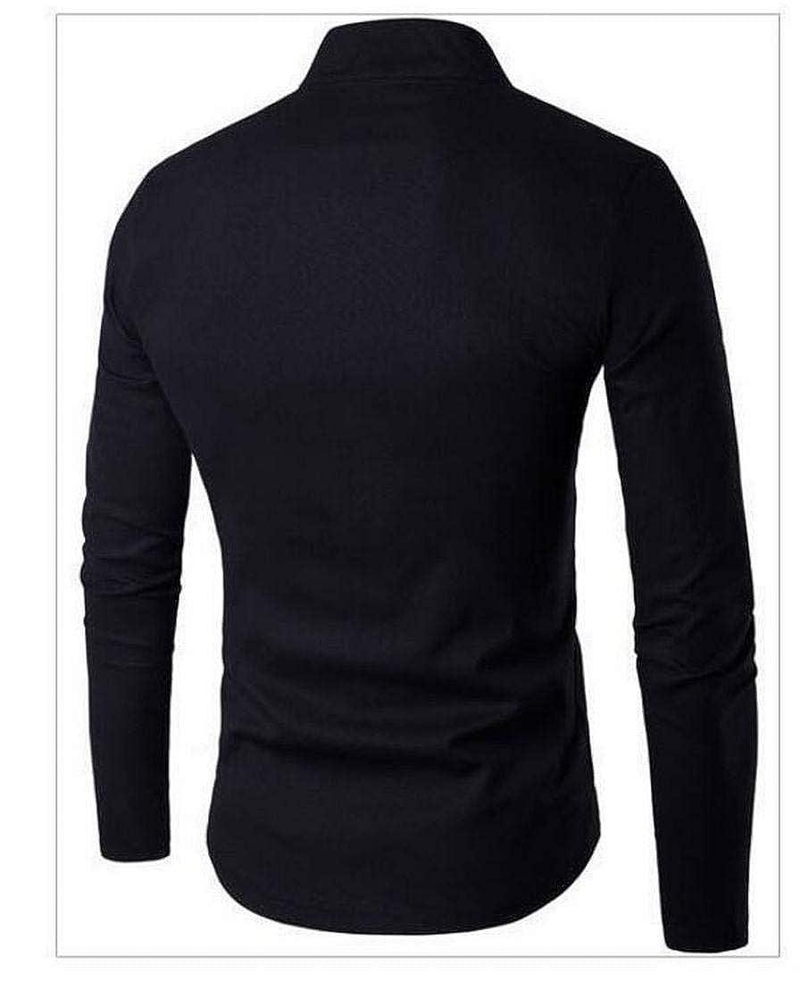 GRMO Men Linen Cotton Mandarin Collar Hippie Long Sleeve Office Casual Shirt