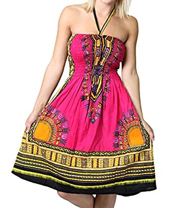 One-size-fits-all Tube Dress/Coverup with African Print - Fuscia