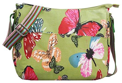 Kukubird varios Caniche mariposa flores estrellas lunares patrón y Rainbow correa sling bandolera Messenger escuela Gym bolsa L Butterfly Green