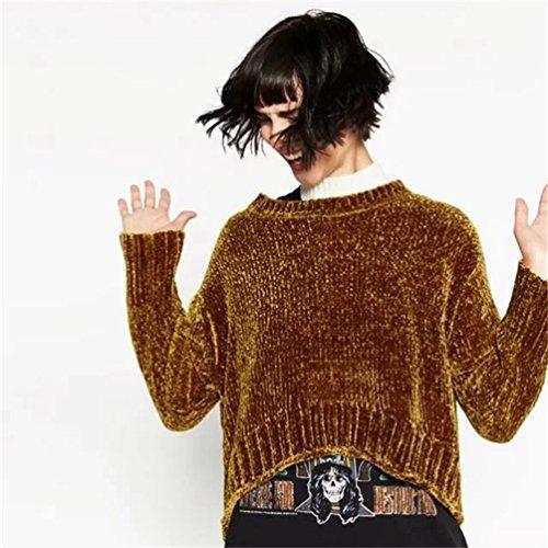YAANCUN Mujer Escote Redondo Suéter Casual Elegante Asimétrica Mangas Largas Jerséis,Talla única Marrón