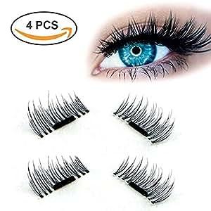 3D Magnetic False Eyelashes,Homay Reusable Ultra Thin [No Glue] Natural Longer Thicker Eyelash Look Perfect for Deep Eyes-1 Pairs (4 Pieces)