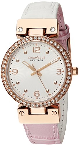 Caravelle Womens Strap - Caravelle New York Women's 44L232 Swarovski Crystal  Two Tone Watch