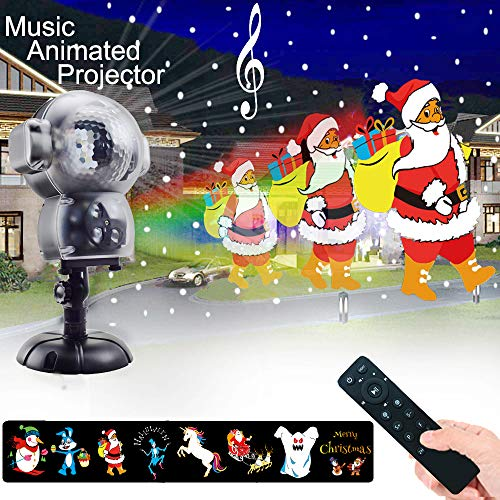UPODA Christmas LED Snowfall Halloween Waterproof with Remote Control Timer and Music Player Anime Snow Light Projector for Outdoor Wedding Xmas Holiday Party -