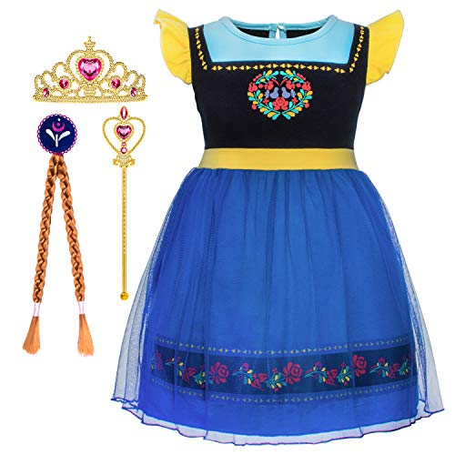 Cmiko Princess Anna Costume Dresses Short Sleeves Dress Up Clothes Skirts for Toddler Little Girls Cosplay Birthday Party with Tiara Magic Wand and Wigs Accessories Size 2t 3t XS(3) 2-3 Years (Blue) -