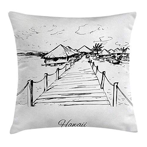 YVSXO Hawaiian Throw Pillow Cushion Cover, Sketch Style Hawaii Dock Tiki Huts Bungalows Tropical Trees Beachy Boho Decor, Decorative Square Accent Pillow Case, 18 X 18 inches, Black White ()