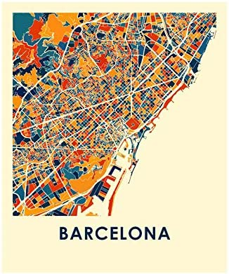 Full Map Of Spain.I Like Maps Barcelona Spain Full Color City Map Print Poster 8 X