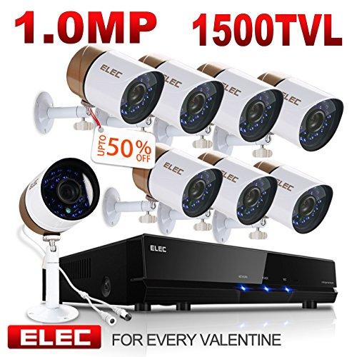 ELEC 1500 TVL IP66 Weatherproof IR-Cut Day/Night Vision CCTV 1.0 MP Security Camera System, 8CH DVR 8 Cameras Security System FREE Remote View APP- NO Hard Drive