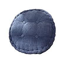 YunNasi Thicken Corduroy Cushion Square Round Pillow Chair Pads for everyone (Round(40×40cm), blue)