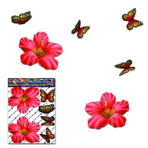 - FLOWER Hibiscus Small Red + BUTTERFLY Animal Pack Car Stickers Decals - ST00023RD_SML - JAS Stickers