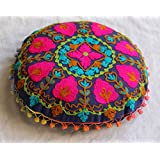 Handicraftofpinkcity Ottoman Round Suzani Embroidered Cushion Cover Round Pillow Cover with POM POM