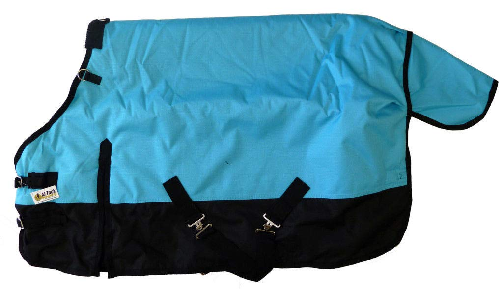 AJ Tack Wholesale Pony Horse 1200D Turnout Blanket Rip Stop Water Proof Medium Weight Turquoise 60 by AJ Tack Wholesale