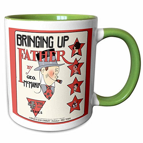 3dRose 777images Designs Cartoons - Copy of a 1921 cartoon comic book cover of Bringing Up Father with Maggie and Jiggs. Series 4 - 11oz Two-Tone Green Mug (mug_151949_7)