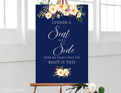 Wood Plaque Choose a Seat not a Side Sign Pick a Seat Ceremony Sign Navy and Peach Wedding Sign Printable W 18