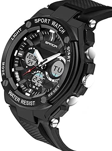 Kids Watch Led Light Calendar Black Rubber Strap Large Dial Waterproof Sport Watch Swimming Black