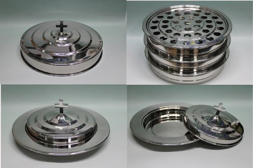 Silvertone   3 Stainless Steel Communion Trays With 1 Lid And 2 Bread Tray Set