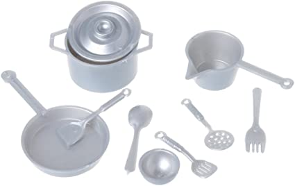 Silver 12pcs Mini Kitchenware Tableware for 1:12 Dollhouse Miniature ACCS