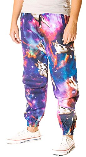 Funny Guy Mugs Space Cat Windbreaker Pants, Medium -