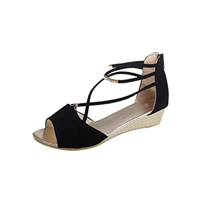 f4202d97136ce Amazon.com | Women Fashion Solid Flock Peep Toe Bohemia Wedges ...