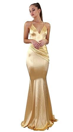 13d7c32155 YiiJee Mujer Cuello en V Profundo Vestidos Color Puro Vestido de Noche  Escotado por detrás Vestidos