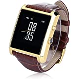 Luxsure Bluetooth 4.0 Smart Watch Waterproof Wrist Watch Phone with Camera Touch Screen and PU Leather Strap Band Smartwatch for IOS iPhone 6 6 plus Samsung Android Smartphones(Gold)