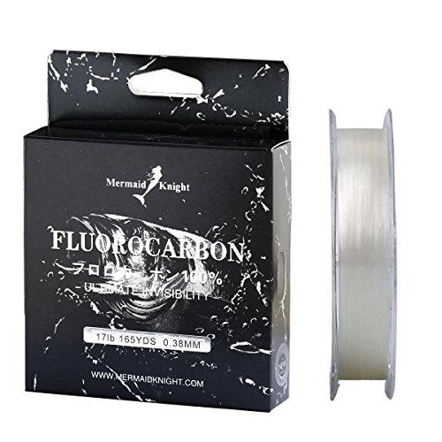MOOKZZ 100% Fluorocarbon Fishing Line - Super Sensitive, Low Visibility and Low Memory Fishing Leader Line - 165Yds/150M Premium Spool - 2017 New (L-TS-0.23)