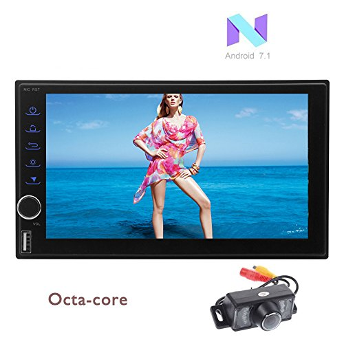 Eincar 2GB + 32GB Android 7.1 Octa Core Double Din Car Stereo Universal 2 Din Car Auto Radio GPS Sat Navigation Support Bluetooth Fast-boot/4G/3G WIFI/Mirror Link/SWC/USB SD 32GB/OBD/DVR