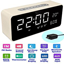 """Orionstar Aid Sleep Wireless Alarm Clock Radio Bluetooth Stereo Speaker HD Sound Repeat Snooze Function 8"""" LED Thermometer AUX MicroSD USB iPhone /Android Compatible Model S1 with Wall Charger White"""