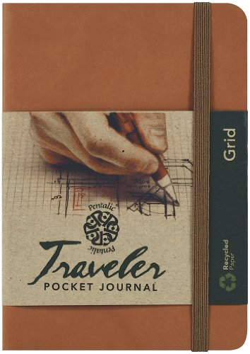 Pentalic Grid Traveler Pocket Journal, 6 by 4-Inch, Brown