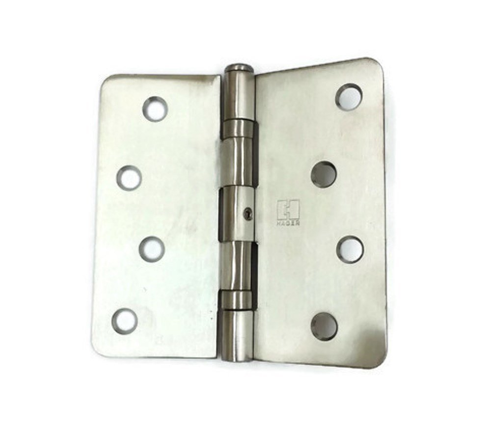 Hager Stainless Steel Door Hinge RCBB1541 NRP 4 x 4 US32D Satin Stainless, 1/4'' Radius Corners, Full Mortise, Residential - 2 per box by HAGER Companies (Image #1)