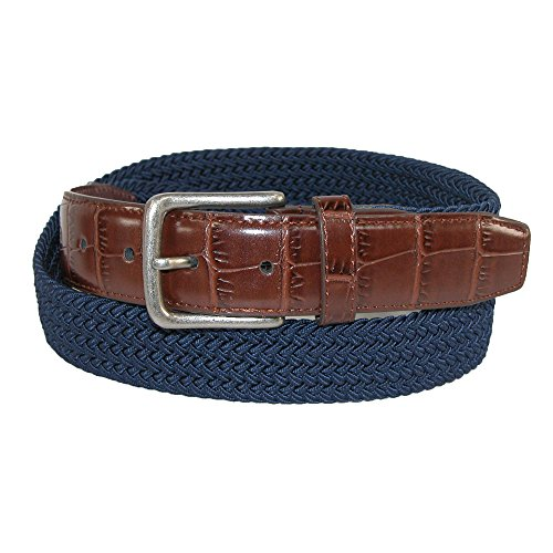 CTM Men's Elastic Braided Golf Belt with Croco Print End Tabs, Small, - Belt Leather Croco