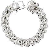 Cuban Link Bracelet, Silver And Cubic Zirconia Miami Cuban Link Bracelet