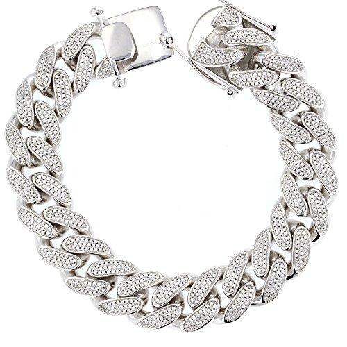 Cuban Link Bracelet, Silver And Cubic Zirconia Miami Cuban Link Bracelet by DiamondJewelryNY