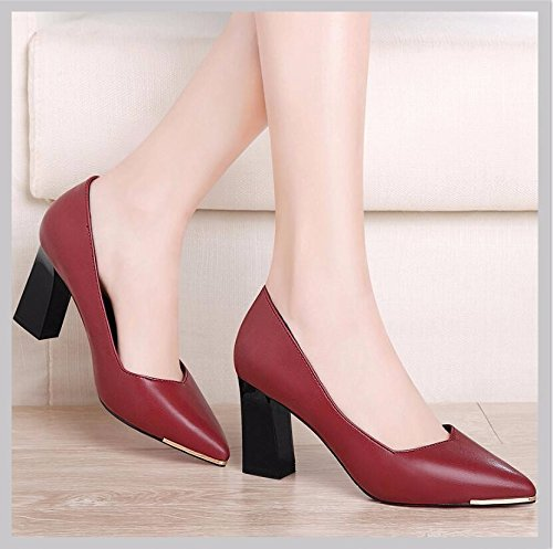 KHSKX-The Red Single Shoes Thick With High-Heeled Shoes Woman In Light Of 7.5Cm Women Shoes Pointed Shoes Leather Shoes Work Shoes Pu 35 Q9QXLzsB