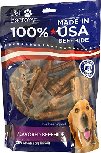 Pet Factory 78140 Beefhide | Dog Chews, 99% Digestive, Rawhides to Keep Dogs Busy While Enjoying, 100% Natural, Beef Flavored Mini Rolls, Pack of 35 in 3-3.5