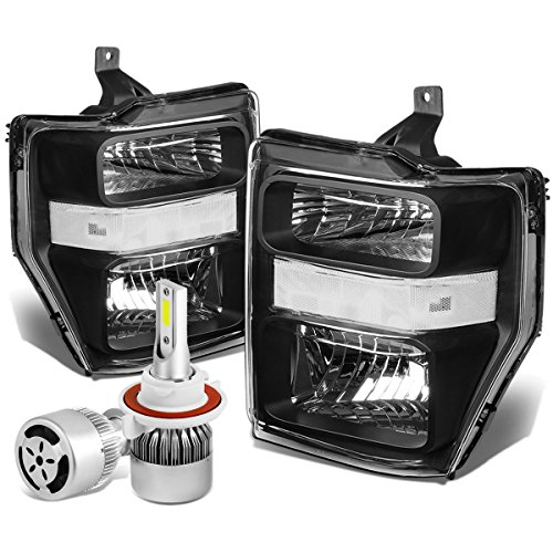 For Ford Super Duty 2nd Gen OE Style Black Housing Clear Corner Headlight + H13 LED Conversion Kit W/Fan