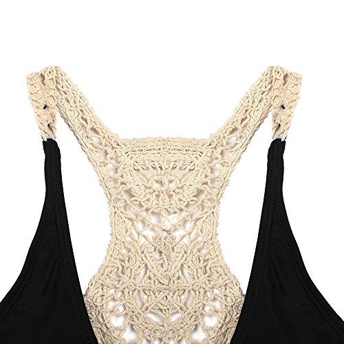 Blooming Jelly Damen Racerback Anzug Crochet Wrap Bikini-gesetzte Badeanzug-Bade