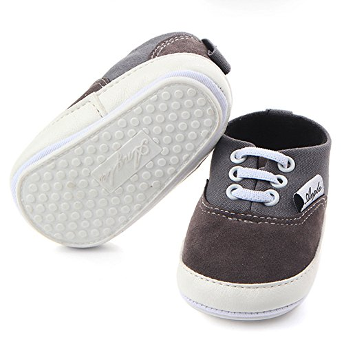 Huluwa Baby Shoes Non-slip First Walking Shoes, Rubber Sole Canvas Shoes for Baby Boys Girls, Safe and Comfort, Gray - Image 3