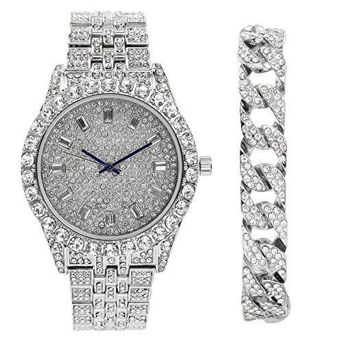 (Mens Watch w/Iced Out Cuban Bracelet Rolly White Gold Tone Look Baquette Time Indicators on Dial - Master Bling Designer - ST10226B Cuban Silver )