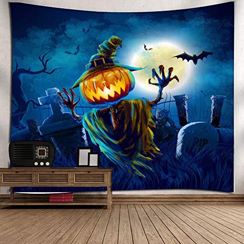 Gbell Kids Boys Girls Adults Room Halloween Moon Pumpkin Tapestry Decoration,Lightweight Soft Grand Room Wall Bedspread Art Hanging Blanket Gifts for Halloween Dorm House Decor,1Pcs,130×150CM (I) ()